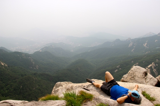 Up at the very top. The weather was a bit foggy/smoggy, but the rolling hills of Asia was still a sight to see.