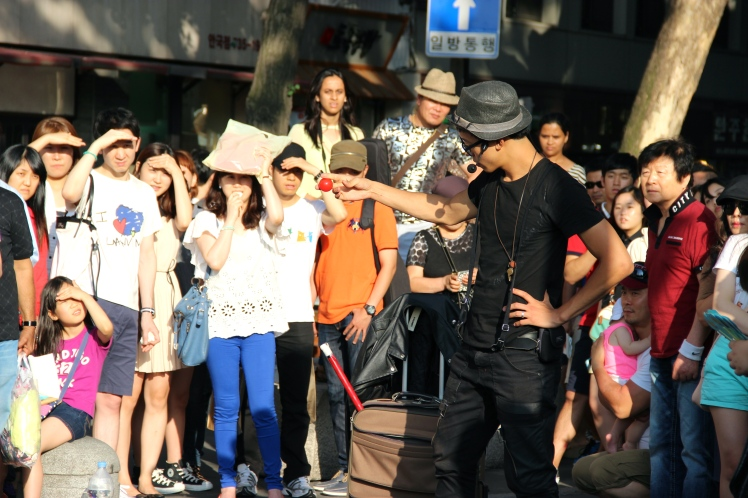 Street magic show. He was no David Blaine though, let me tell you.