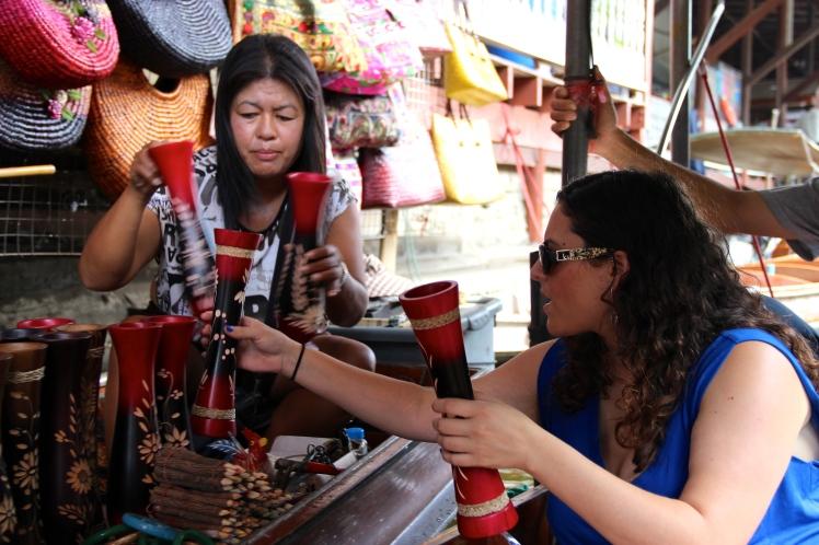 Shoshana getting her shopping on, practicing the art of bargaining.